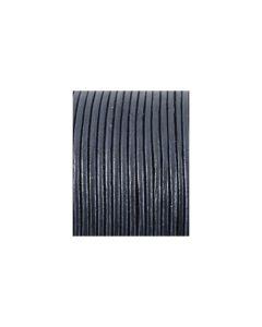 Cordón cuero metálico azul marino 2 mm