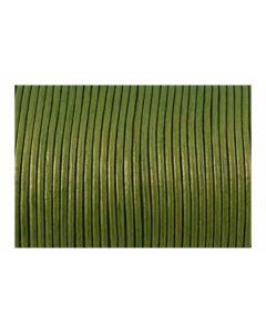 Cordón cuero metálico verde 2 mm