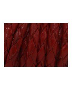 Cordón cuero trenzado rojo