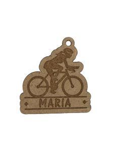 Llavero madera ciclista chica