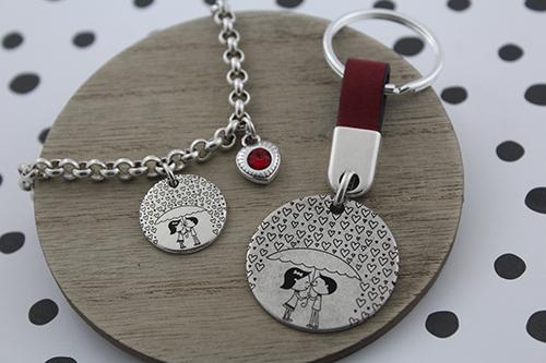 97577d16ad7d pulsera cadena corazon swarovski rojo y llavero cuero san valentin la  fermina abalorios zamak plata bisuteria